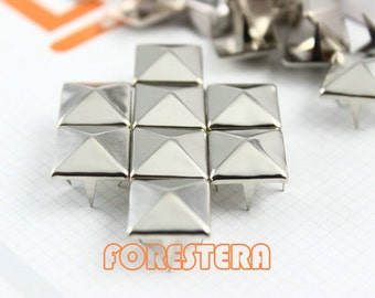 14mm Silver Pyramid Stud Punk Rock Leathercraft Stud (SP14)