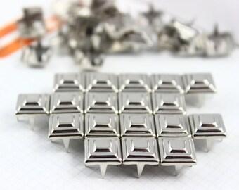 200Pcs 9mm Silver Pyramid Studs Metal Studs (STT09)