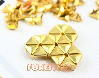 50Pcs 10mm Gold Triangle Studs Metal Studs (JT10)