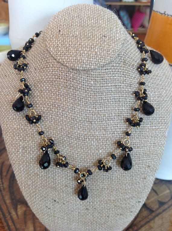 Black spinel and zircon semi precious gemstones hand wire wrapped teardrop necklace