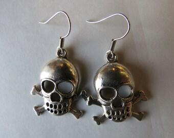 Skull and Crossbones Charm Earrings.