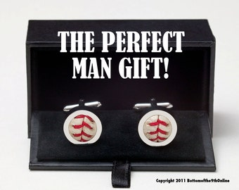Perfect MAN Gift! GAME USED Baseball Cufflinks w/ Gift Box