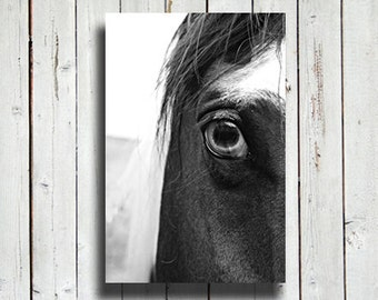 Horse eye - black and white horse photo - horse decor - horse art - black and white decor - western decor - modern decor - horse photography
