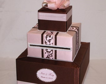 Chocolate Brown and Blush Pink Wedding Card Box-any color combination