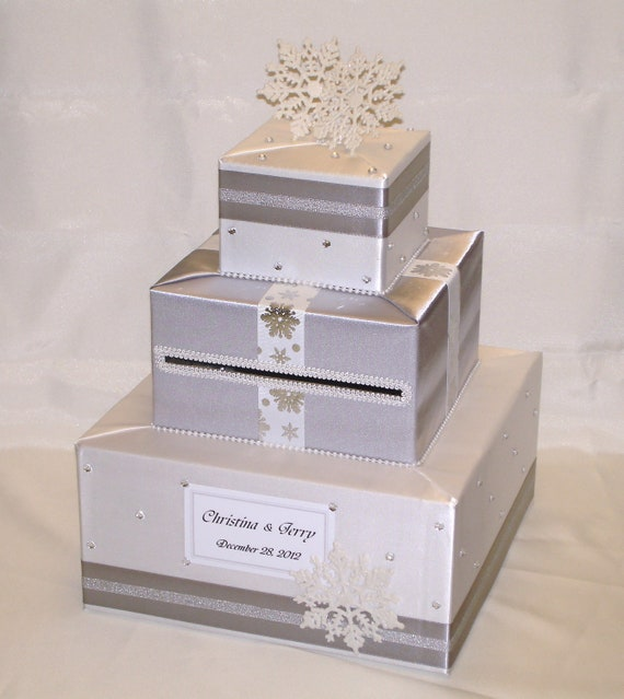 Winter Wedding Gift Card Box : Winter/Snowflakes theme Card Box-any colors by ExoticWeddingBoxes