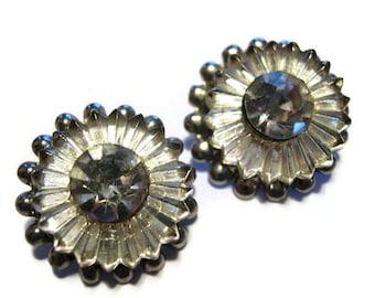 Vintage Shoe Clips Rhinestone Glass Sparkling Flowers 30's - 40's