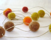 Autumn felt ball garland - 16 felt balls - 10 feet long - ready to ship - EarthyMamaGoods