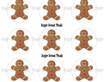 INSTANT DOWNLOAD Gingerbread Man 1 inch Circle Bottlecap Images 4x6 sheet