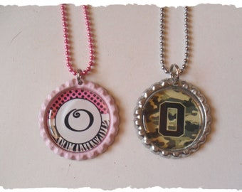 Your Choice Of Initial O Bottlecap Necklace Pick your Style