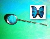 Real Blue Morpho Hair Pin