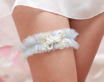 Something Blue Wedding Garter, Blue tulle Garter, Beads and Pearls, Blue Garter, Wedding Garter, Bridal Garter, Toss Garter, Keepsake Garter