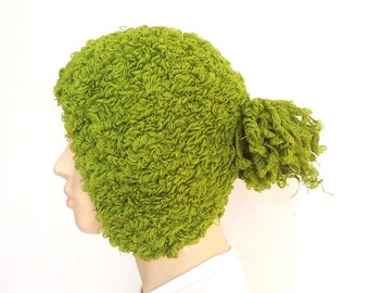 Forest Green  woman  a young girl knit ear flap hat with braid black scarf