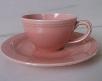 Vernon Kilns Pink Early California Demitasse Cup and Saucer