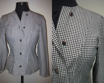 Vintage 1980s small check black and white jacket SIZE 12