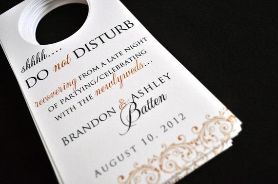 Wedding Door Hangers - Hotel Guest Door Tags - Wedding Favors - Custom Printed and Cut Door Hangers