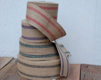Jute Webbing in Red, Green, Purple or Black Trimmed by the Yard