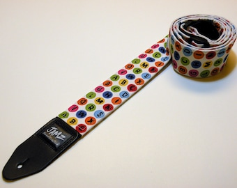 CLEARANCE SALE 38% Off!  Handmade Guitar Strap - Alphabet Soup - Polka Dots