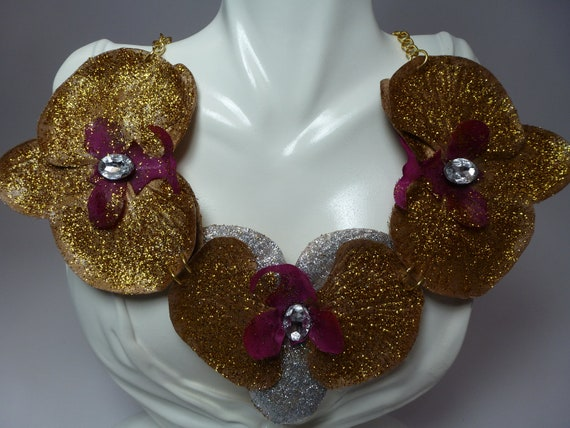Floral Bib Statement Necklace, Fabric Flower Bib Necklace with Crystals , Elegant Gold and Silver  Flower Statement necklace