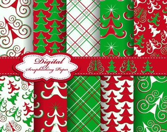 Green, White and Red Christmas Digital Papers for scrapbooking, card making, Invites, photo cards (P167)