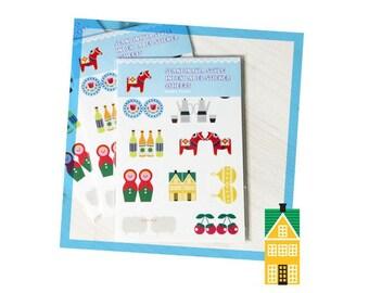 Paper Deco Sticker Set - Scandinavia Style Index Label Sticker - 4 Sheets in 2 patterns