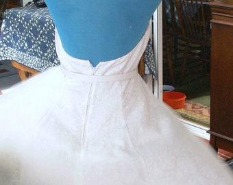 White  short wedding boned halter top Dress size 9-10  union label