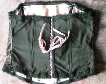 pink and black boned strapless corset plus size size 26 or 28