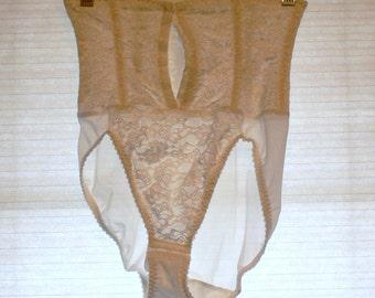 beige  sheer boned panties size large