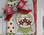 Shabby Chic Holiday Christmas Stars handmade card stamped