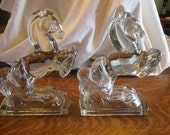 Horse Bookends Fostoria Glass Rearing