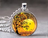 Autumn Necklace, Tree Necklace, Sunset Necklace, Glass Dome Art Pendant with Ball Chain - no. 084-23