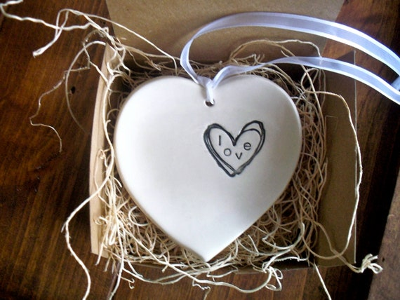 wedding ring holder, engagement  ring dish, LOVE stamped pillow with ribbon, White and Black Handmade Pottery, Gift Boxed, In Stock