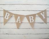 BABY Burlap Banner Bunting Glittered White