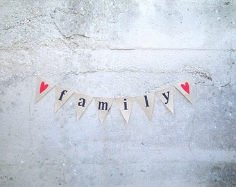 Family Burlap Banner with Red Hearts
