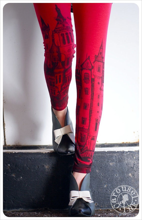 REDUCED - Red VICTORIAN City Leggings - Womens Legging - Red - Tights -