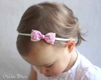 Floral Headband - Small Floral Bow Handmade Baby Headband - Baby to Adult Headband