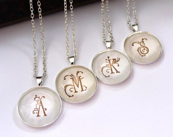 Bridesmaid necklaces Set of 4 Bridesmaid jewelry Initial necklace Personalized bridesmaid gifts Monogram necklaces Silver Bridal party gifts
