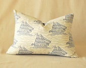 "Nautical Pillow Cover Sailing Ship Navy Blue Stars Vintage 12""x16"""