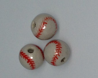 10 Ceramic Baseball Beads