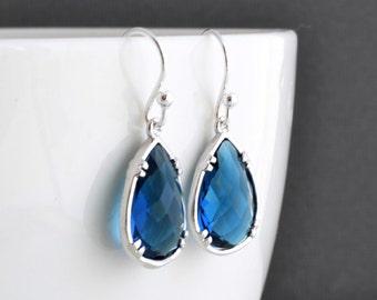 30% OFF, Sapphire blue simple silver earrings,Blue earrings,Clip earrings,Crystal earrings,Silver earrings,Sapphire earrings,Christmas gift