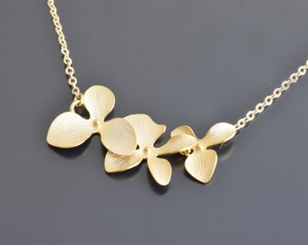 10% OFF, Orchid flower yellow gold necklace,Wedding,Bridal,Bridesmaid,Anniversary,Christmas,Mothers,Teacher, Birthday, Gift,Valentines gift.
