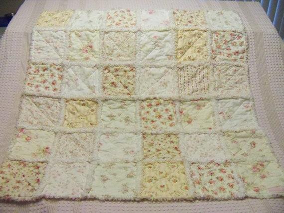 Rag Quilt Roses Cottage Chic Shabby Baby Crib Stroller
