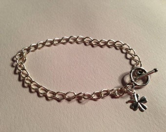 Children's Silver Charm Bracelet Clover Charm Jewelry Good Luck Jewellery