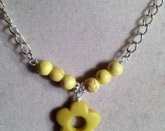Flower Necklace - Yellow Jewelry - Turquoise Jewellery - Silver Chain - Pendant Charm Select Your Color Flower Girl Wedding