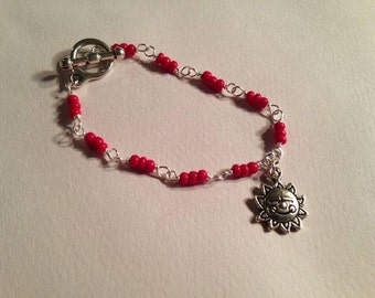 Red Bracelet Sun Charm Jewellery Children's Silver Jewelry Fashion Everyday Chain Good Luck Summer Wedding Flower Girl