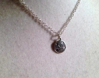 Childs Necklace Sand Dollar Jewelry Charm Jewellery Chain Everyday Gift Unique Pendant Drop Silver Ocean Beach Sea