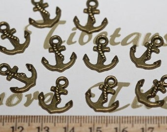 32 pcs per pack of 16mm one side Small Anchor Charm Antique Bronze Finish Lead Free Pewter