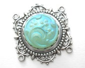 Irridescent Aqua Blue Czech Glass Button in Antiqued Silver-Plated Brass