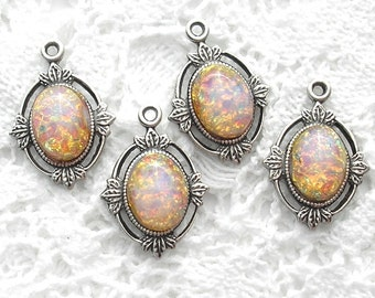 Pink Fireopals in Antiqued Silver Settings - 4 Pieces