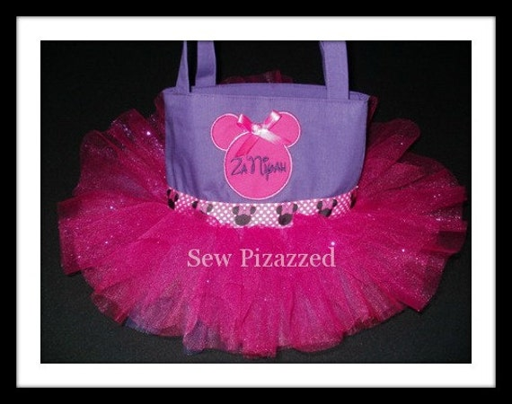 Purple and Pink Minnie Mouse Tutu Tote Bag