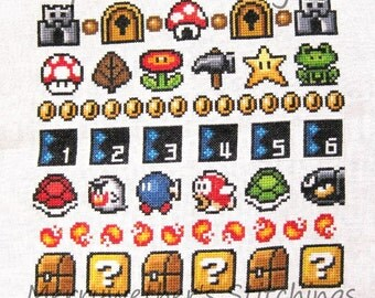Super Mario 3 All Stars Band Sampler Cross Stitch PATTERN